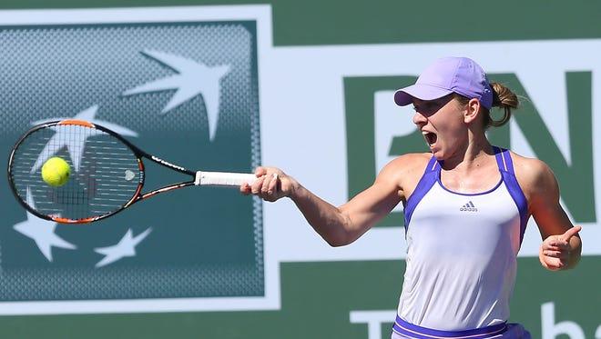 Simona Halep hits a shot March 13 at the BNP Paribas Open.