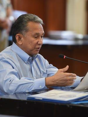Sen. Tom Ada discusses Bill No. 248-34 (LS) a session at the Guam Congress Building in Hagåtña on March 9, 2018.