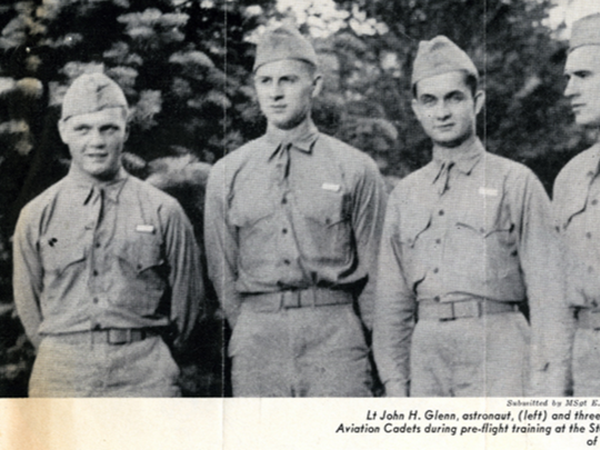 John Glenn with cadets at U.S. Navy Pre-Flight