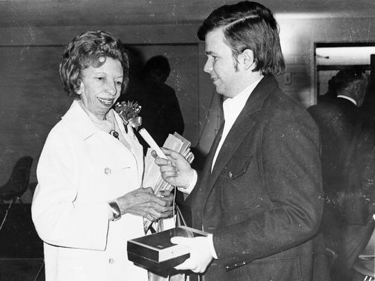"Velma Johnston, also known as Wild Wild Horse Annie, in the mid-1970s with Alan J. Kania, author of ?Wild Horse Annie.? Provided to the RGJ Velma Johnston, also known as Wild Wild Horse Annie, in the mid-1970s with journalist Alan J. Kania, author of ""Wild Horse Annie"""
