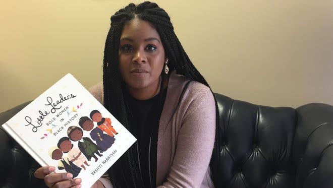 Author and illustrator Vashti Harrison speaks about her book on Monday, Nov. 6, 2017 in Onancock, Virginia.