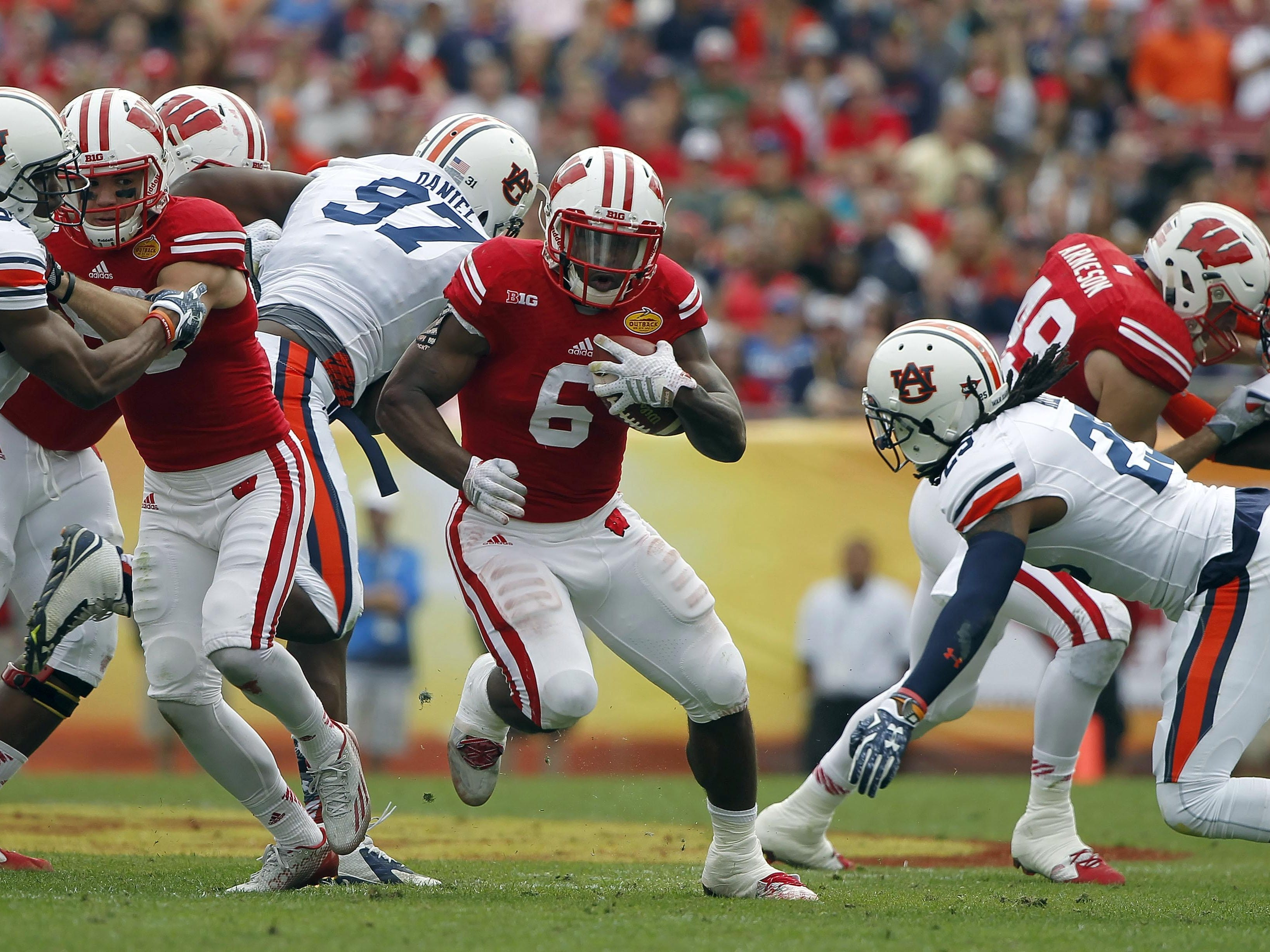 Wisconsin's Corey Clement, shown running against Auburn during the Outback Bowl in January, gets his opportunity as a full-time starter.