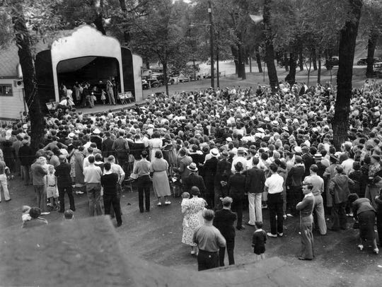 A small crowd attends a performance at the Eldridge