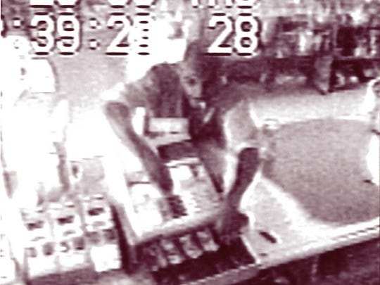 Investigators believe the man shown in these surveillance images is the suspect in a 1998 cold case homicide in Hardeman County.