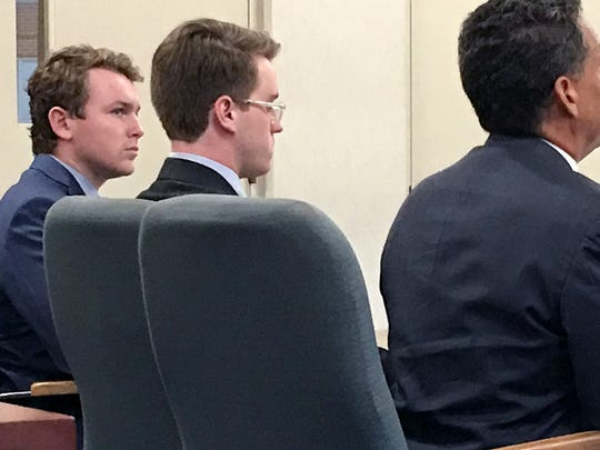 Center, Wesley Richter, 20, a continuing education student at UVM, appears in Vermont Superior Court in Burlington on Friday, Oct. 6, 2017, accused of disorderly conduct following an investigation into a reported threat directed at students and staff of color on the University of Vermont campus.