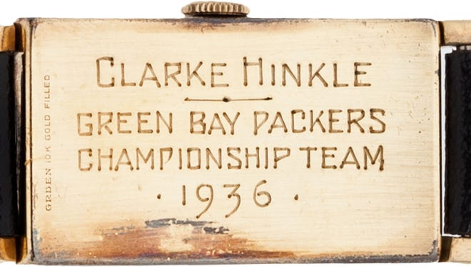 Clarke Hinkle's 1936 NFL championship watch is expected to sell for at least $20,000 when an auction closes Friday.