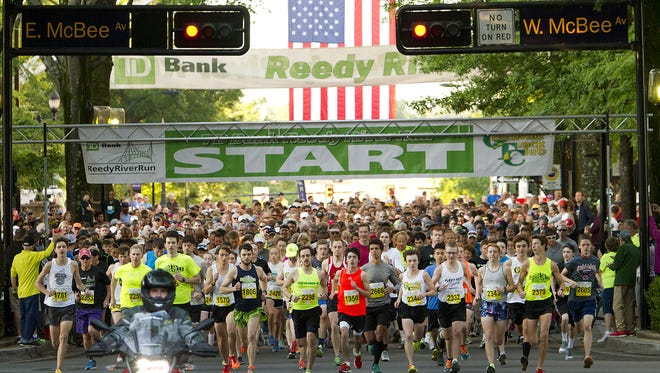 The 39th Reedy River Run in downtown Greenville, featuring a 10K, 5K and one mile kids run/walk. Start of the 5K race.