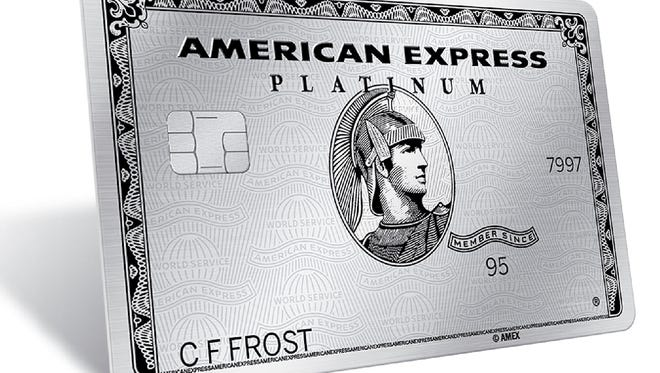 This image provided by American Express shows the company's redesigned platinum credit card. American Express is announcing a new set of features for its Platinum Card, the popular charge card aimed at well-off and frequently traveling customers.
