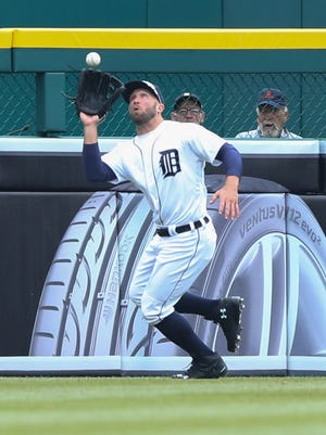 Detroit Tigers Tyler Collins catches the fly ball hit by the Pittsburgh Pirates John Jaso during second inning action on Monday, April 11, 2016 at Comerica Park in Detroit MI.