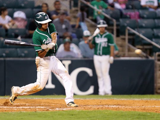 Falfurrias' Royce Carrera bats in two runners in the