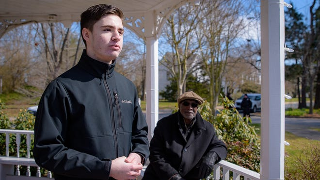 Student organizer Cecil Bundick of Arcadia High School addresses the gathering at the Onancock Town Park during the March for Our Lives on Saturday.