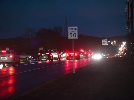 Traffic is moving slowly along Route 66 near Jumping Brook Road