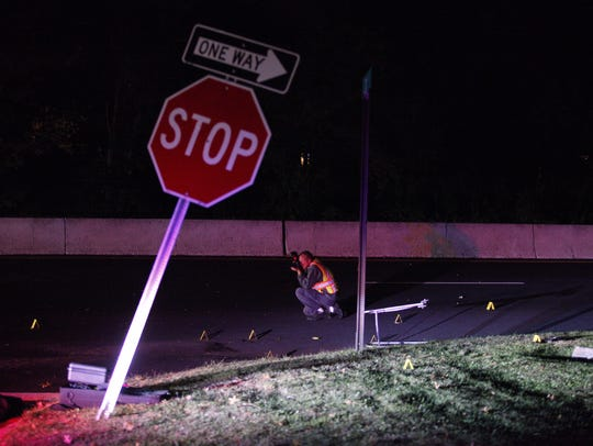 A pedestrian was on Thursday night struck by an eastbound