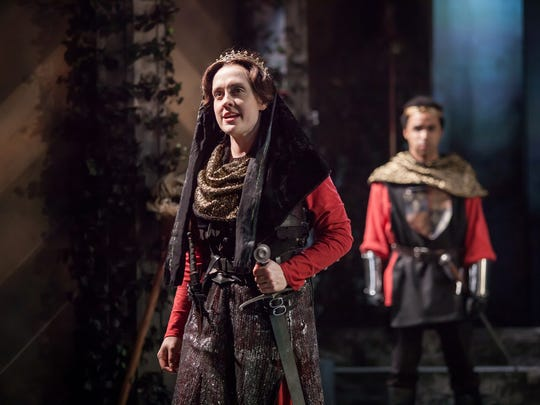 "Kelly Mengelkoch plays Queen Margaret in Cincinnati Shakespeare Company's production of William Shakespeare's ""Henry VI: The Wars of the Roses, Part 2."" In the background, you can see Crystian Wiltshire as Prince Edward."
