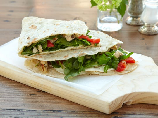Marinated chicken piadina at Izzy's in Edgewater