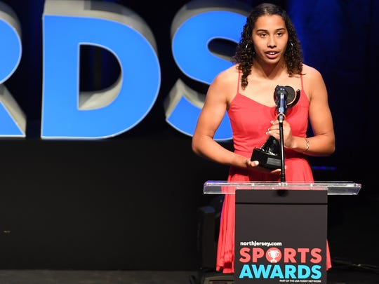 Northjersey.com Sports Awards at the Bergen Performing Arts Center on Thursday, June 14, 2018. Girls Field Athlete of the Year Tiffany Bautista of Paramus Catholic.