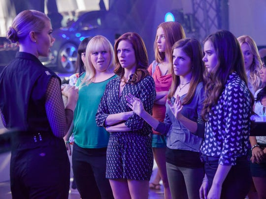 "Kommissar (Birgitte Hjort Sorensen) throws shade at the Barden Bellas; Lilly (Hana Mae Lee), Fat Amy (Rebel Wilson), Chloe (Brittany Snow), Stacie (Alexis Knapp), Beca (Anna Kendrick), Emily (Hailee Steinfeld), Jessica (Kelley Alice Jakle) and Flo (Chrissie Fit) in ""Pitch Perfect 2"""