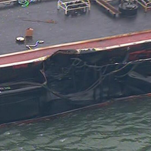 Damage to barge that was carrying nearly 1 million gallons of oil.