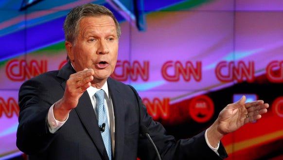 John Kasich makes a point during the CNN debate.
