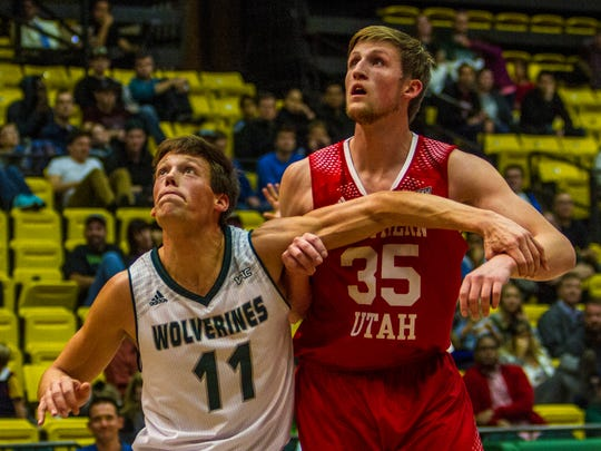 Southern Utah's AJ Hess (#35) fights for a rebound in the game at Utah Valley, Saturday, Dec. 5, 2015.