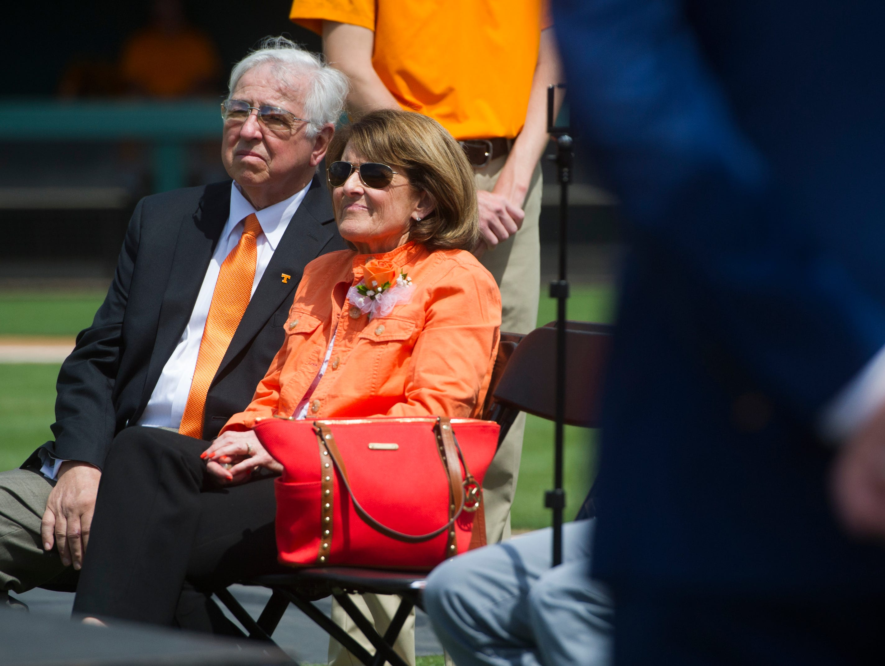 Greg and Kathy Vitello watch their son and new head coach of University of Tennessee baseball speak at a press conference at Lindsey Nelson Stadium on Friday June 9, 2017.