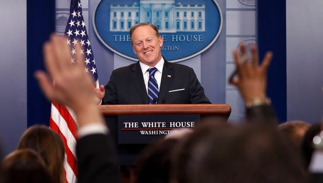 White House press secretary Sean Spicer meets with the media during the daily briefing in the Brady Press Briefing Room of the White House in Washington, Wednesday. (AP Photo/Pablo Martinez Monsivais)