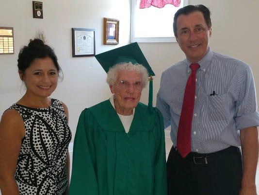 Leona L. Paulus of Elmer (center), Gloucester County Freeholder Heather Simmons and New Jersey Assemblyman John Burzichelli.