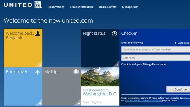 A screenshot welcomes United customers to its new beta site.