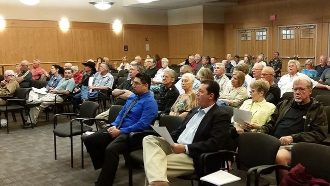 Residents fill the Doña Ana County Commission Chambers in the Doña Ana County Government Center in Las Cruces on Thursday, Nov. 3, 2016, for a meeting on a proposed Unified Development Code, a land-use overhaul for the county.
