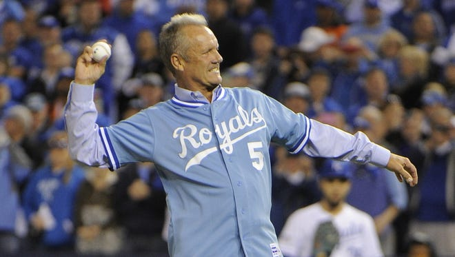 Royals legend George Brett threw out the first pitch in Game 3 of the ALCS on Tuesday.