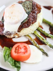 The honey balsamic chicken caprese with grits and asparagus