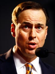 University of Tennessee athletic director John Currie speaks during a press conference on Nov. 12, 2017.