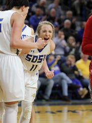 South Dakota State's Madison Guebert (11) reacts to
