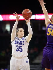Drake's Becca Jonas takes a shot during the Bulldogs' MVC Tournament championship game against UNI at the TaxSlayer Center in Moline, Ill. on Sunday, March 11, 2018.
