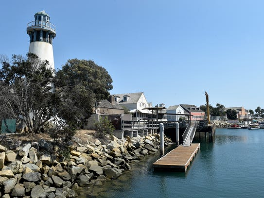 The lighthouse at Fisherman's Wharf overlooks the Channel