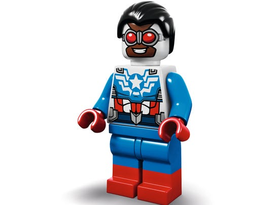 Sam Wilson in his LEGO Captain America form —he also
