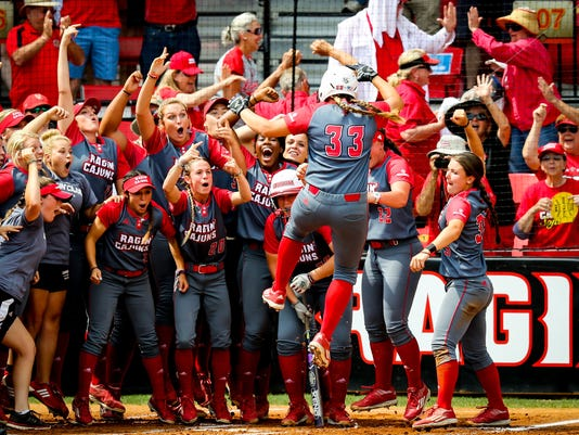 in the Regional Championsip matchup between ULL and Texas A&M at Lamson Park in Lafayette, Louisiana on May 22, 2016.