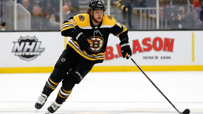 Boston's David Pastrnak has been scrimmaging twice a week with a group that includes about 10 current and former NHLers.