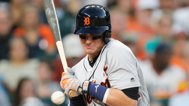 James McCann is hit on the hand by a pitch in the fourth inning of the Tigers' 7-6 loss to the Astros on May 25, 2017 in Houston.