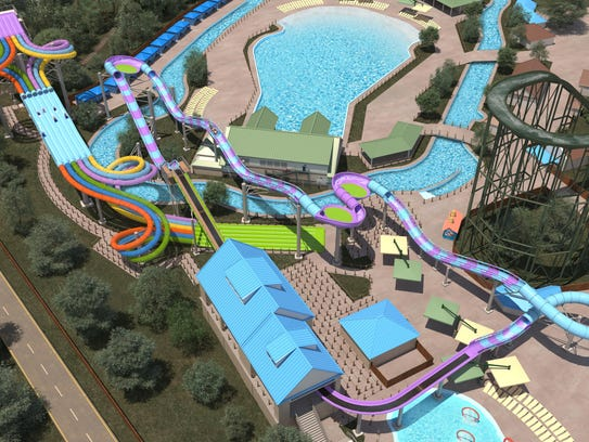 An ariel rendering of the two new water rides that
