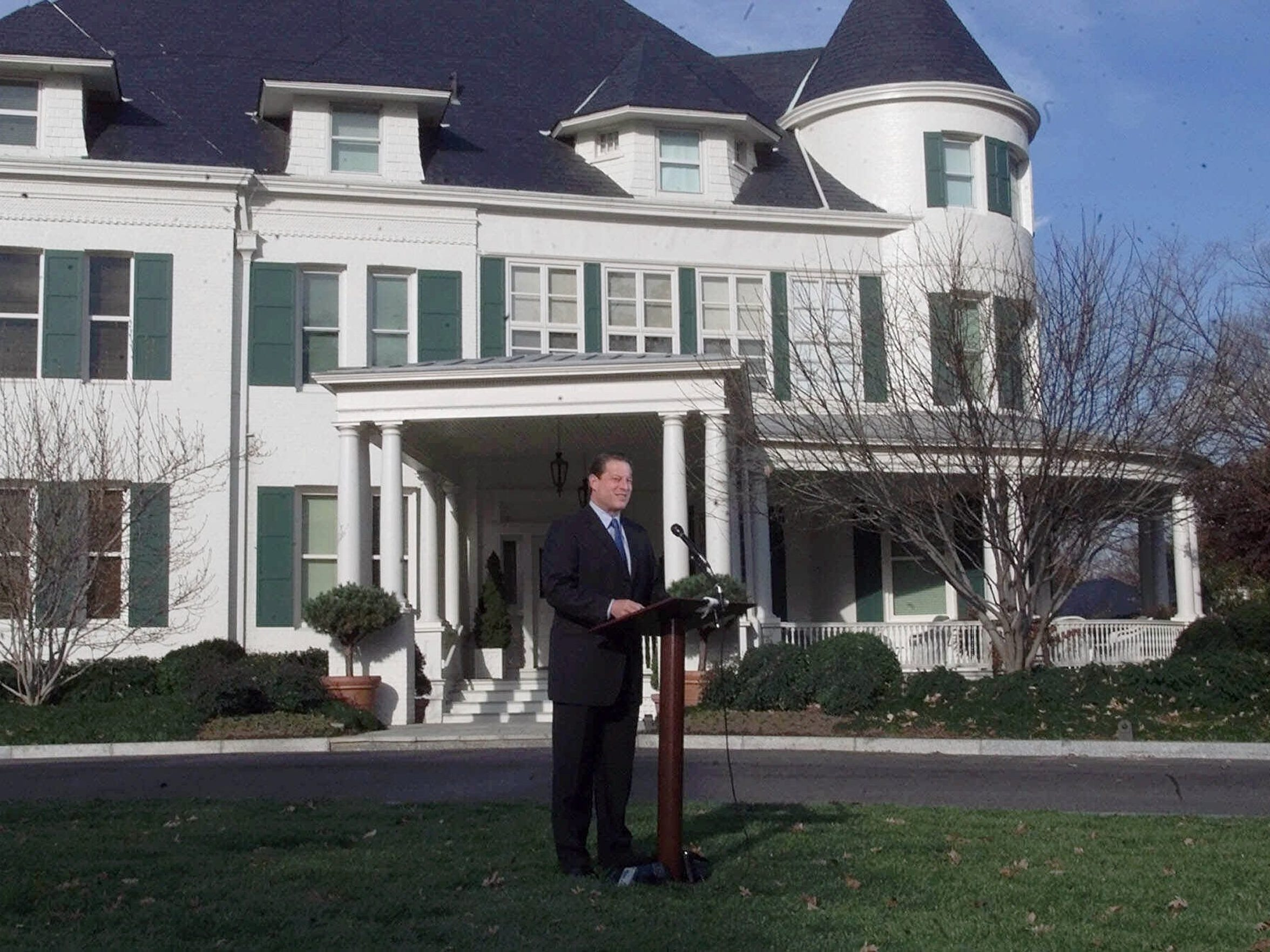 Vice President Al Gore talks with reporters outside of his residence at the United States Naval Observatory Nov. 28, 2000, amid an ongoing recount of votes in Florida. The U.S. Supreme Court would eventually halt that recount, handing the election to George W. Bush.