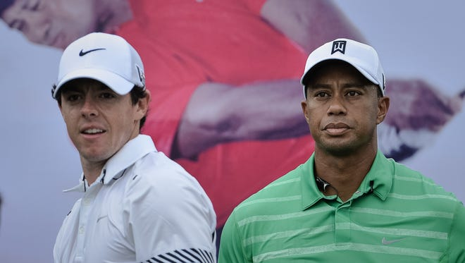 Rory McIlroy and Tiger Woods faced off in an 18-hole exhibition Monday at Mission Hills in Haikou, China.