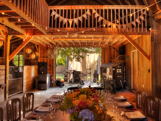 Country, rustic setting in barn.