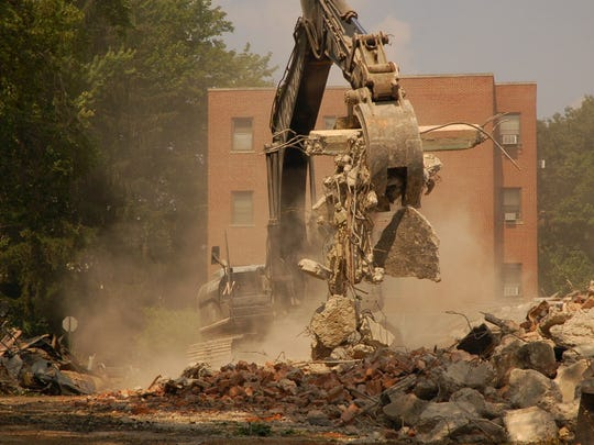 Demolition of buildings at the former Overlook Hospital in August 2009.