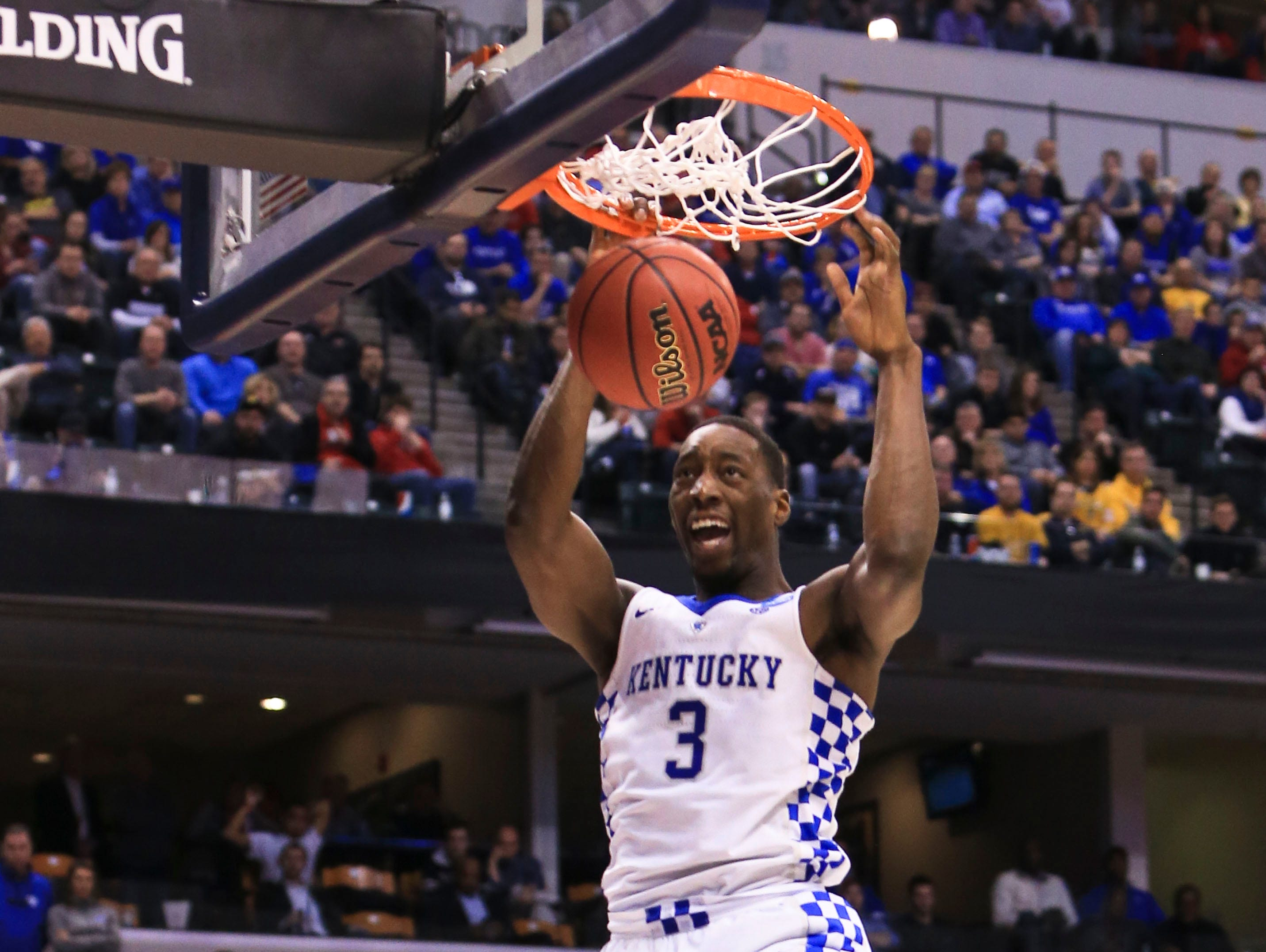 Kentucky's Bam Adebayo slams down two of his 13 points to go along with his 10 rebounds as the Wildcats won 65-62 in the second NCAA game Sunday in Indianapolis. The Cats head to Memphis for the NCAA Sweet 16.