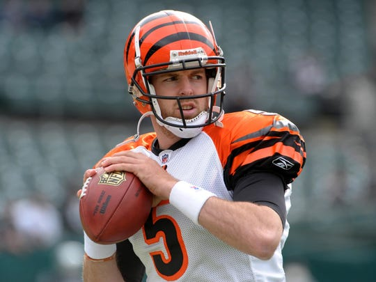 Nov 22, 2009; Oakland, CA, USA; Cincinnati Bengals quarterback Jordan Palmer (5) during the game against the Oakland Raiders at the Oakland-Alameda County Coliseum. The Raiders defeated the Bengals 20-17. Mandatory Credit: Kirby Lee/Image of Sport-USA TODAY Sports