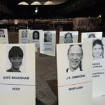 Seating placards for the Screen Actors Guild Awards are displayed at the L.A. Shrine Exposition Center on Friday, Jan 23, 2015, in Los Angeles. The 21st Annual SAG awards will be held on Sunday.  (Photo by Rob Latour/Invision/AP) ORG XMIT: CARL101