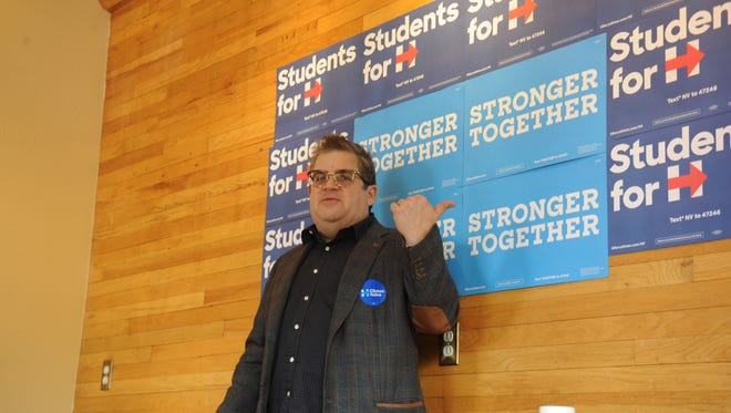 Patton Oswalt campaigned for Democratic presidential nominee Hillary Clinton in Reno on Thursday, Oct. 13, 2016.