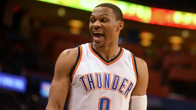 Oklahoma City Thunder guard Russell Westbrook (0) is putting his name among the NBA's all-time greats.