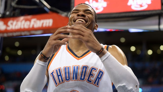Oklahoma City Thunder guard Russell Westbrook brings his triple-double talents to Milwauke on Monday night.